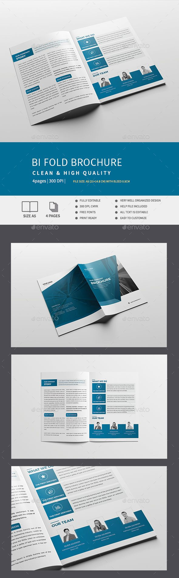 Corporate Bi-Fold Brochure | Brochures, Brochure template and Template