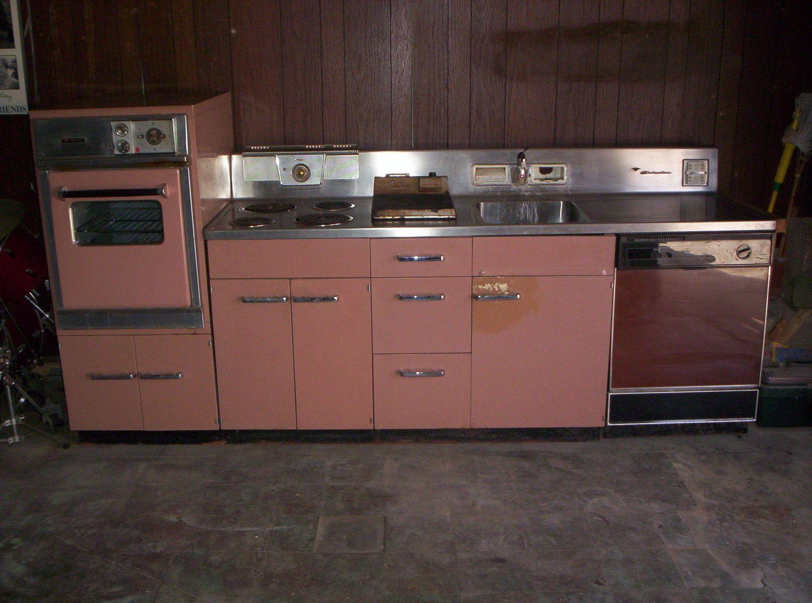Hotpoint Customline Modular Metal Kitchen Cabinet Stove Dw Sink Metal Kitchen Cabinets Kitchen Retro Kitchen