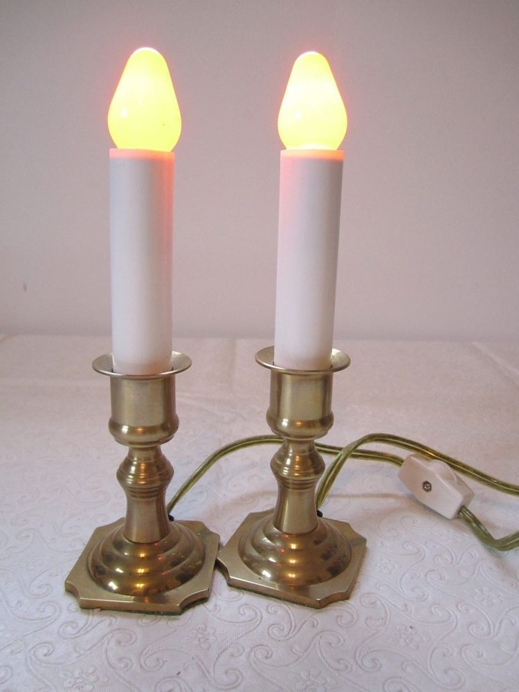 2 Vintage Brass Christmas Candles Electric Window Candle 6