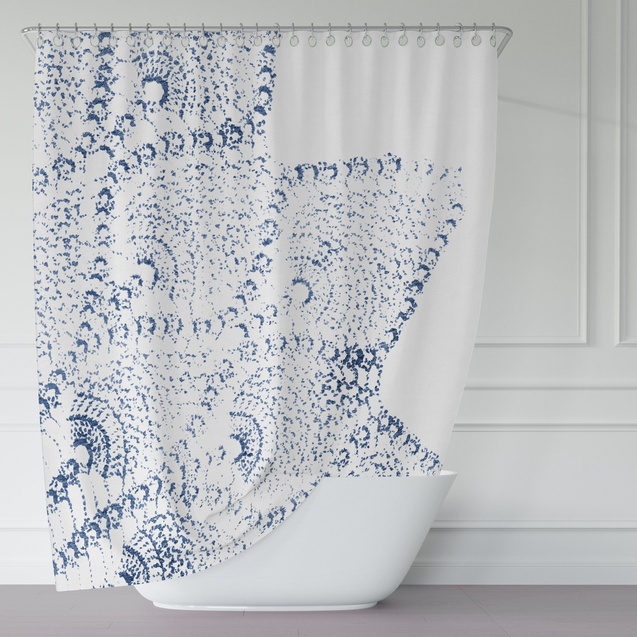 Navy Blue And White Vintage Lace Print Shower Curtain Lace Print
