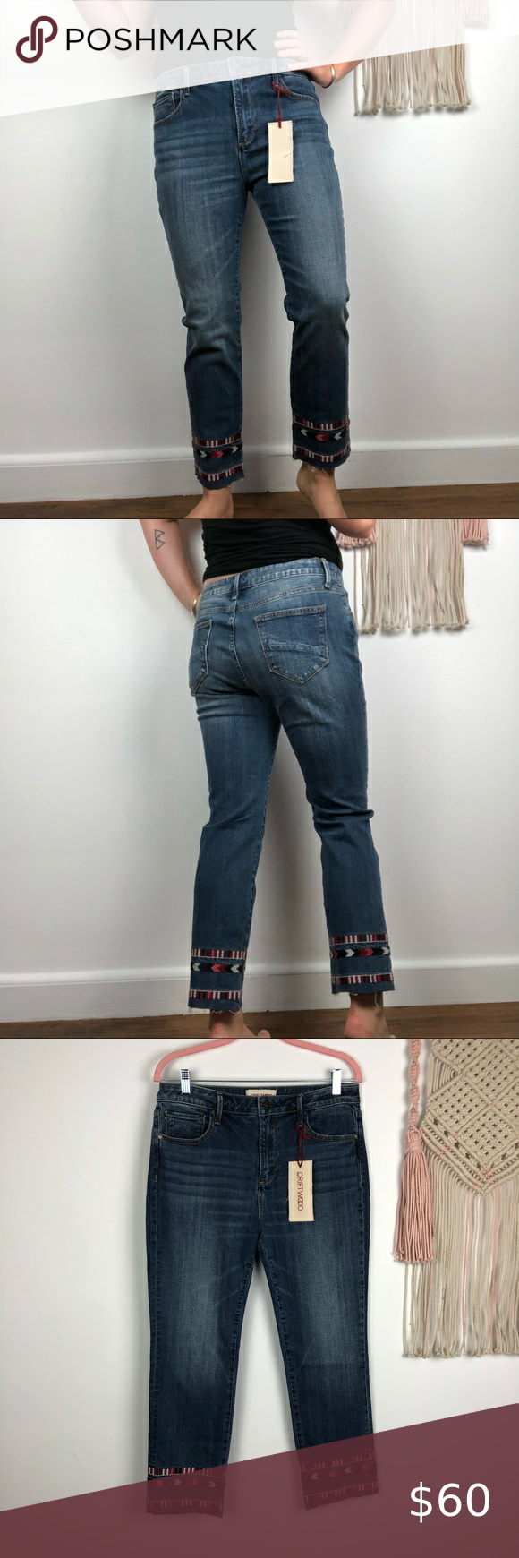 Driftwood Nwt Embroidered Hem Cropped Denim Sz 30 Driftwood High Waisted Jeans Size 30 Embroidered Embellis Fashion Jeans Outfit Cropped Denim Clothes Design