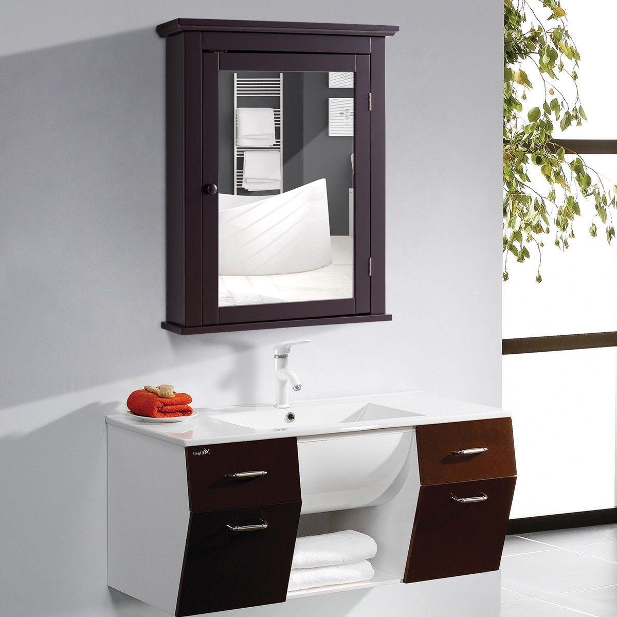 Bathroom Mirror Cabinet Wall Mounted Adjustable Shelf Medicine
