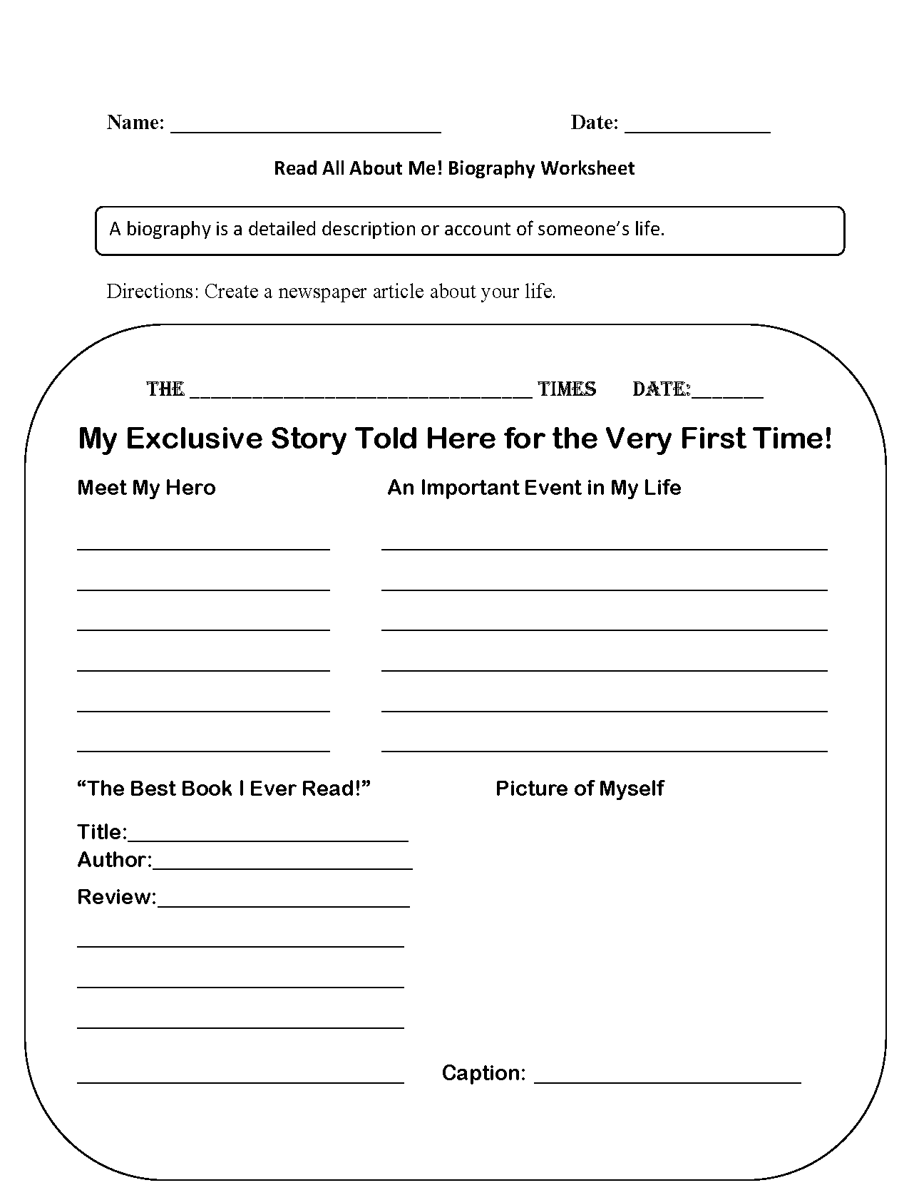 Read All About Me Back To School Worksheets
