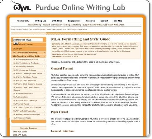 The Online Writing Lab Owl At Purdue University Houses Writing