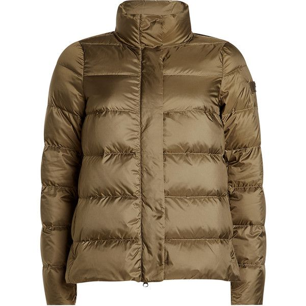 Peuterey Quilted Down Jacket (5 625 UAH) ❤ liked on Polyvore featuring outerwear, jackets, green, peuterey jacket, gray jacket, grey quilted jacket, tailored jacket and green down jacket
