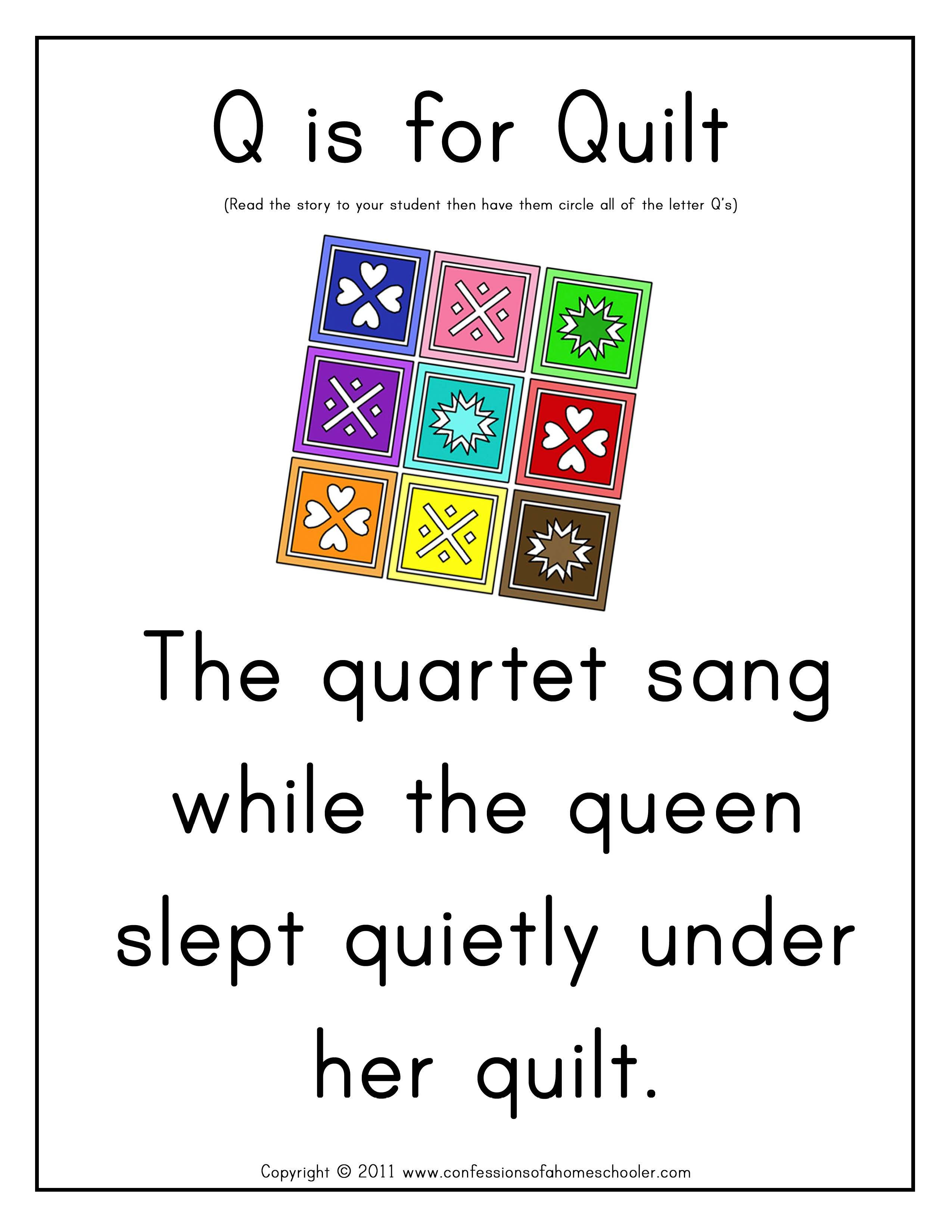 Preschool Letter Hunt Letter Q Curtesy Of Confessions Of