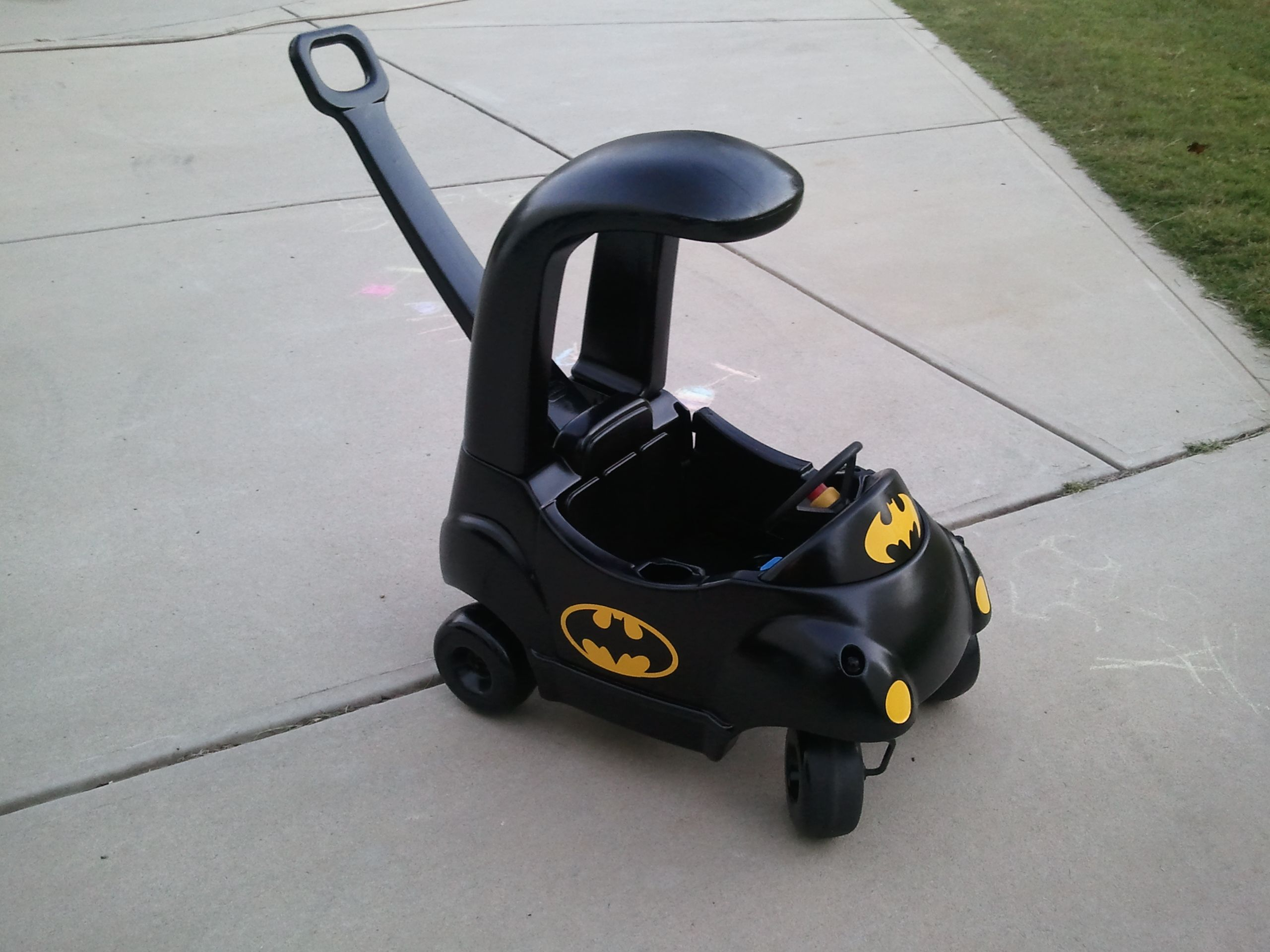Little Tikes car transformed into the Batmobile