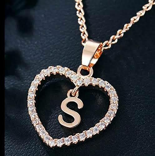 S Name Art In 2020 Crystal Heart Necklace Letter Pendant Necklace Letter Necklace