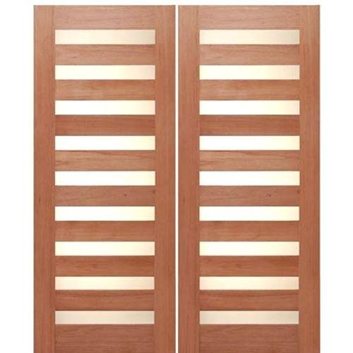 AAW Doors Inc. Rubi Slimlite-2 Double Door Mahogany Contemporary withSlim Crystal