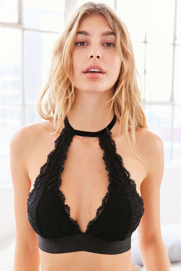 14749af885f50 Out From Under Velvet and Lace Choker Bra - Urban Outfitters