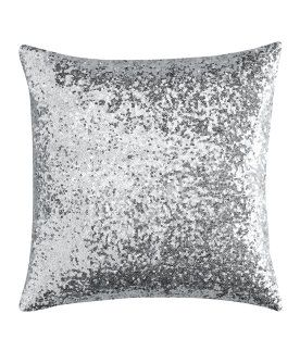 Silver sequin pillow cover Sparkly