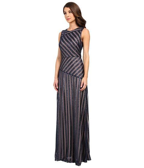 b5b1039bdac Donna Morgan Gigi Boat Neck Striped Sequin Gown Midnight Nude - Zappos.com  Free Shipping BOTH Ways