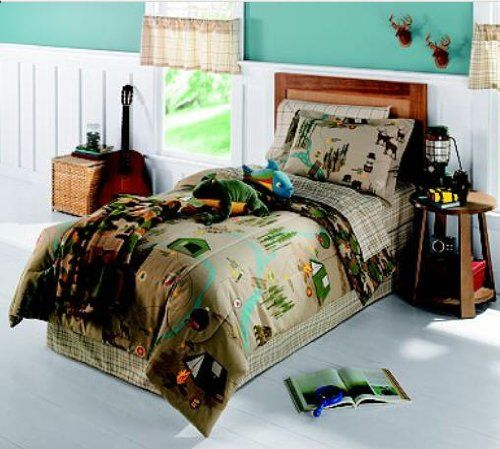 Kids Love Themed Bedroom Sets: Camping Nature Themed Bears & Deer Twin Comforter Set (6