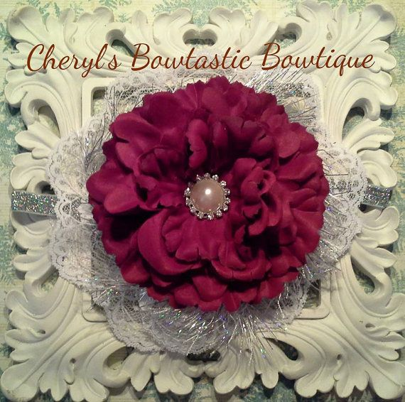 Deep Red Peony Flower with White Lace and silver yarn on Silver elastic headband and by CherylsBowtasticBows