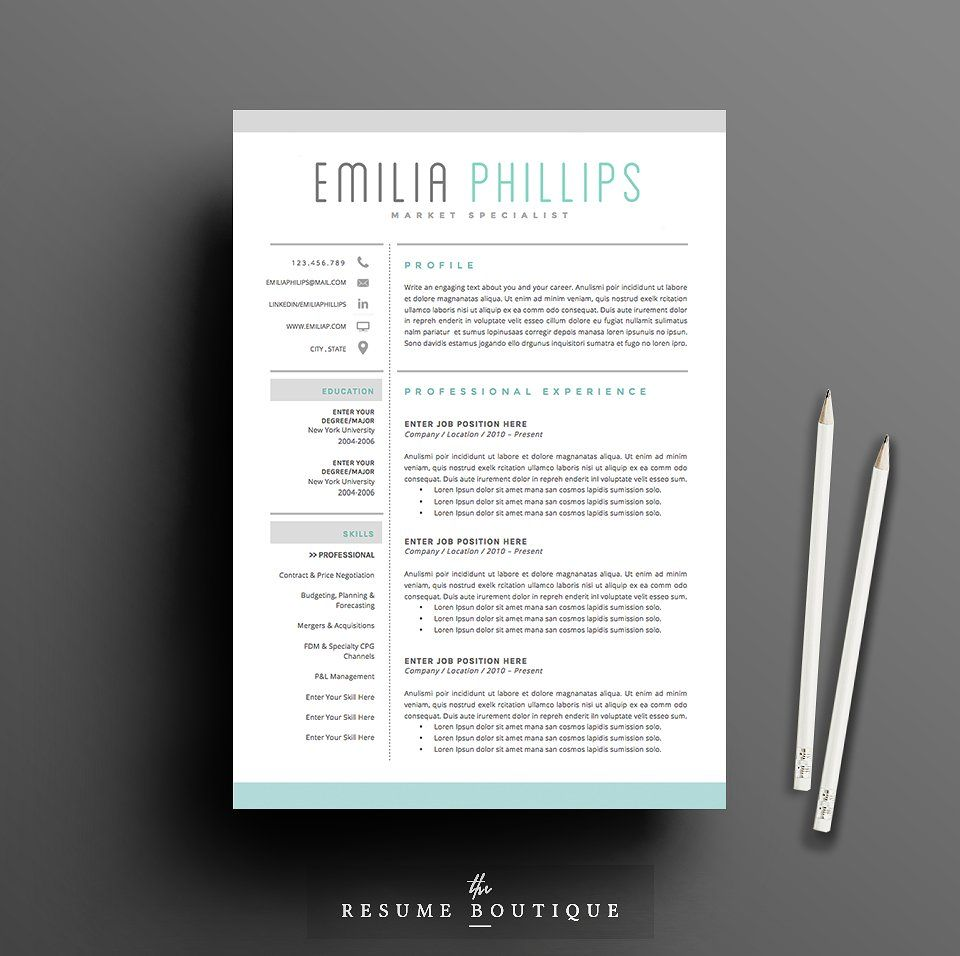 Resume Template 4 Page Pack Aqua By Thesumeutique On