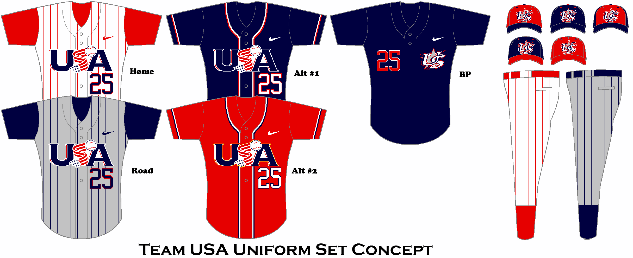 Team Usa Baseball Uniform Set Concept Usa Baseball Baseball Bag Baseball Uniform