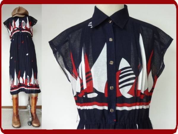 古着 レトロ vintage個性的ヨット柄ワンピ 70s60sモッズポップモダン昭和マリン紺赤ヴィンテージサイケフレンチ13号 画像1 ファッションアイデア ワンピ 紺