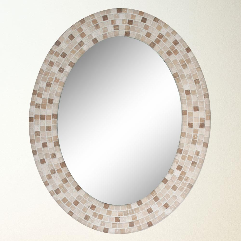Travertine Mosaic Oval Mirror 8668