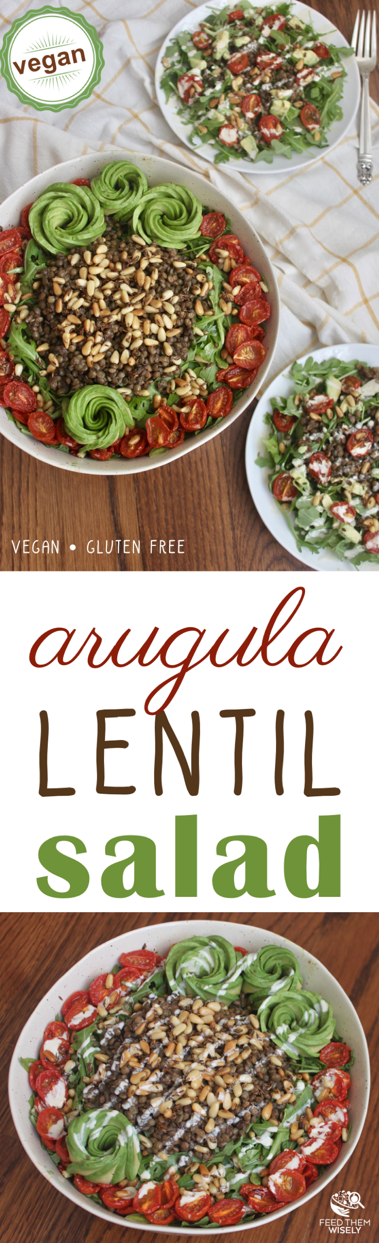 Arugula lentil salad with cumin toasted pine nuts, oven-roasted tomatoes, avocado and a tangy lemon tahini dressing.  #vegan #glutenfree #healthy #salad #recipe