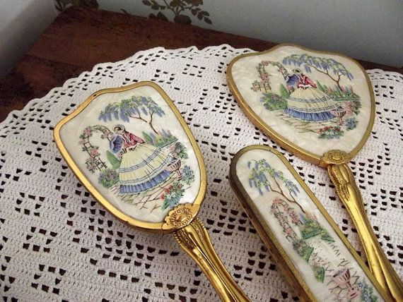 Great Vintage Dressing Table Vanity Set Hair Brush