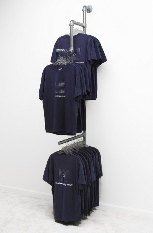 Wall Mounted Clothing Rack Display Simplified Building