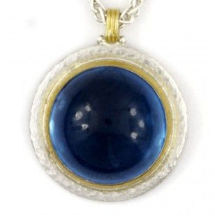 Sterling Silver layered with 24K Gold, Blue Topaz Cabochon Pendant by GURHAN