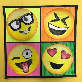 4th Grade Pop Art Emojis Elementary Art Projects Pop Art For Kids 4th Grade Art