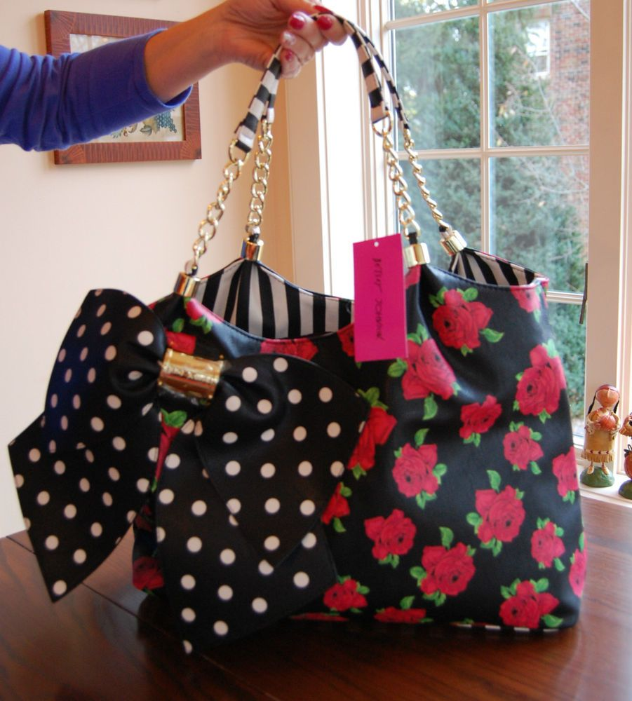 a4dd9a00bab9 NWT Betsey Johnson Bow-Licious Tote Floral Red Rose Black Bone Polka Dot Bow  in Clothing