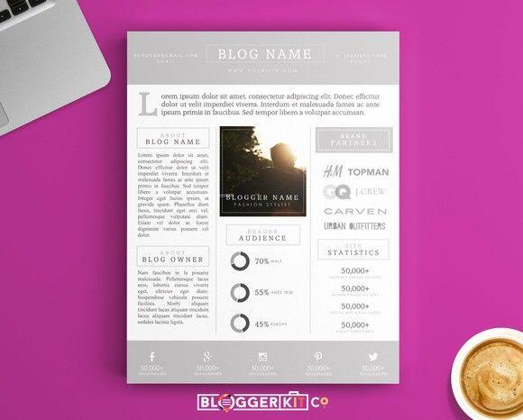 Blog Media Kit Template  One Page  Media Kit Stationery