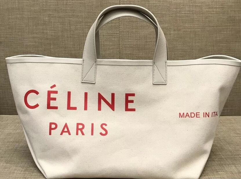 f891c88575 2018 Cheap Celine Red Logo Made In Small Tote Bag in Textile ...