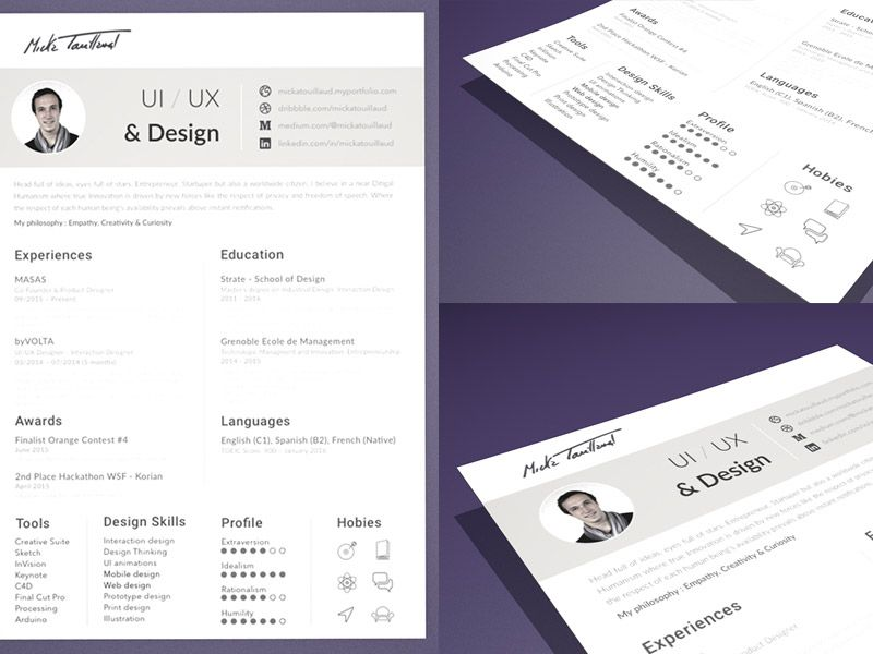 Free minimal Sketch resume template for job seeker This template
