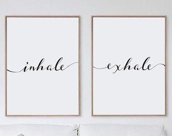 Inhale Exhale Print Minimalist Typography Art Yoga Wall Pilates Relaxation