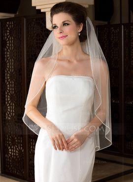 Casdre Wedding Veil 2 Tier Ivory Fingertip Length Bridal Veil Ribbon Edge Veil with Comb for Brides
