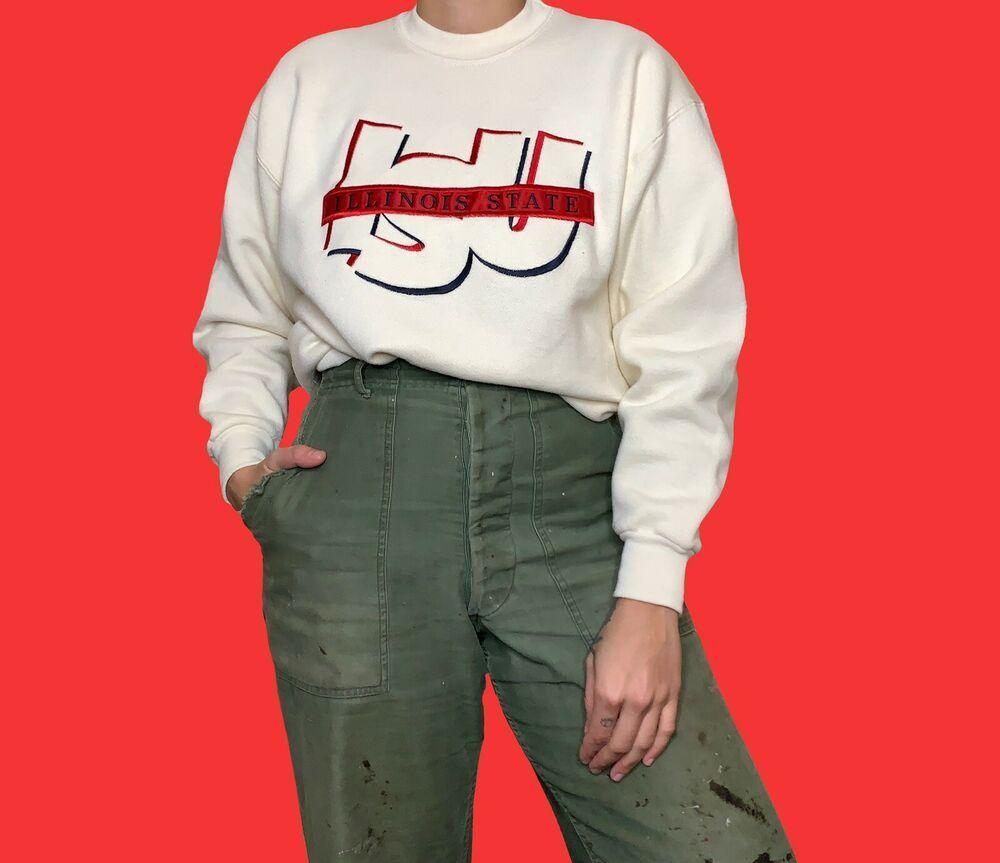 Vintage 90s Illinois State University Crewneck Sweatshirt Collegiate Sweater M Famoussportsw Illinois State University Vintage Sportswear Crew Neck Sweatshirt [ 863 x 1000 Pixel ]