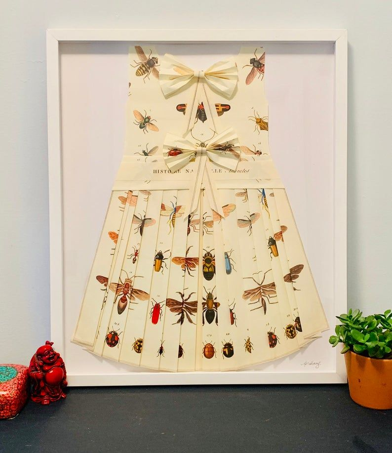 Photo of Insects & Bugs! Hand Folded Map Origami Dress Framed In White Shadow Box