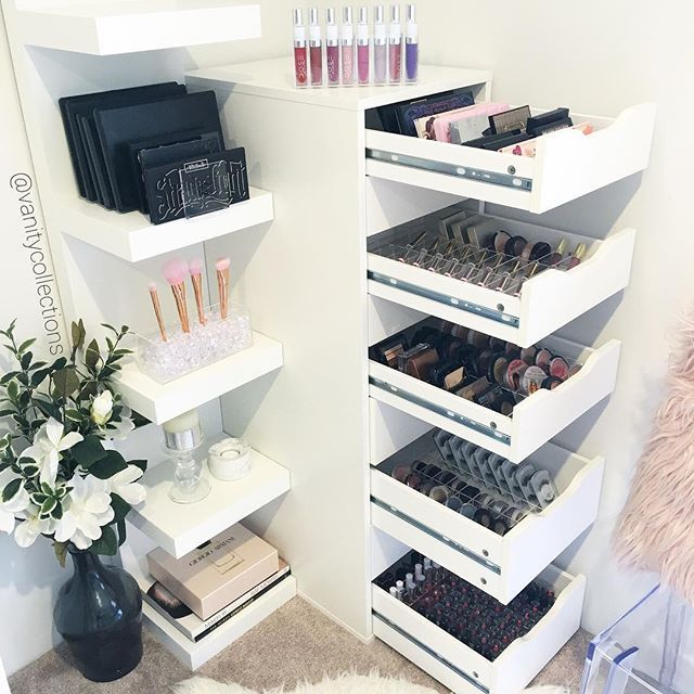 Vanity collections for all your makeup storage needs Makeup drawer organizer ikea