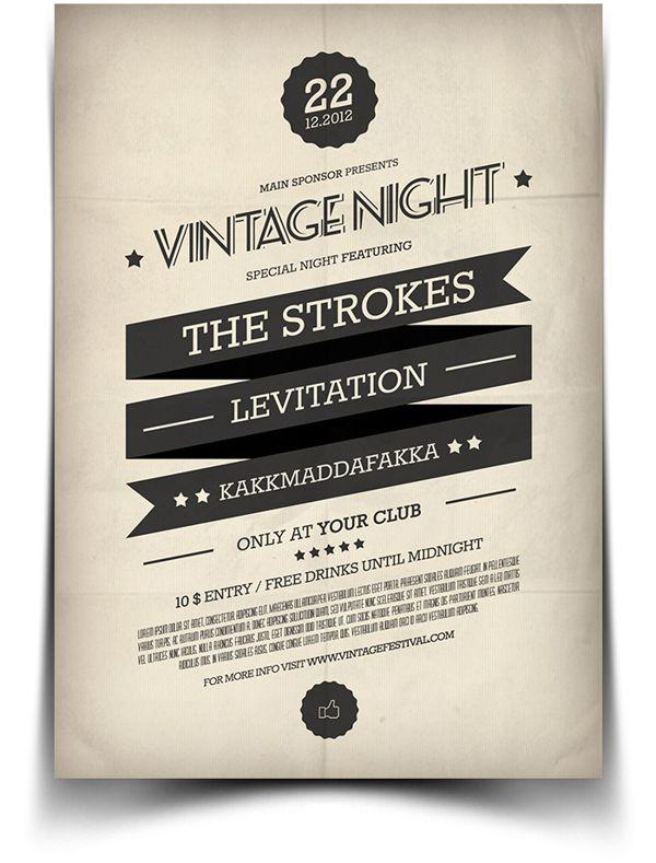Vintage Flyer / Poster 2 by BlueMonkeyLab , via Behance Typography
