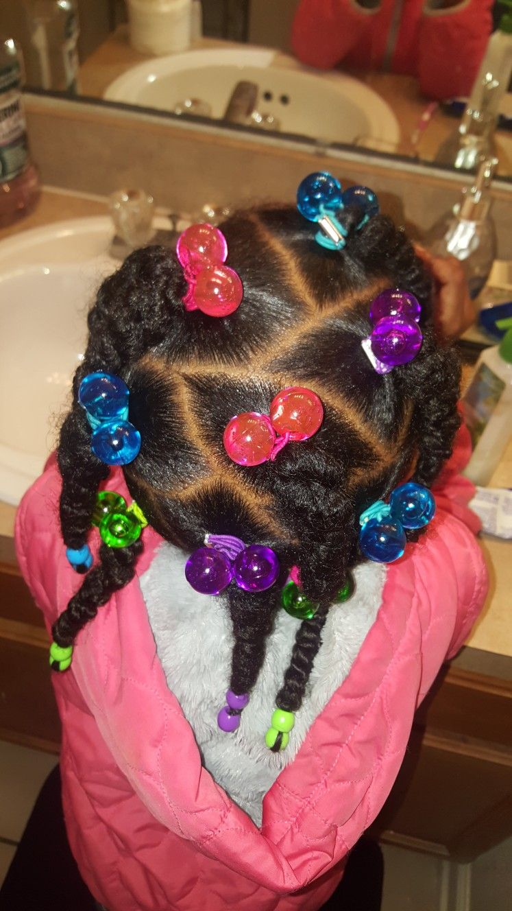 Colorful Hairstyle For Little Black Girls Braids Beads And Rubber Bands In Natural Hair Baby Girl Hairstyles Natural Hair Styles Toddler Hairstyles Girl