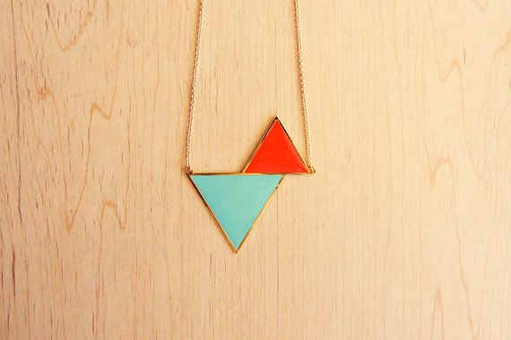 Triangle necklace by hugaporcupine on etsy