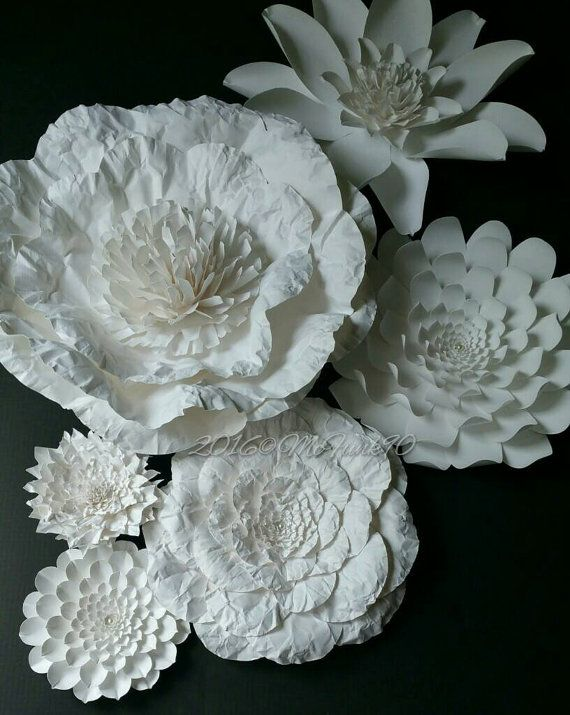 Weddings Large White Paper Flowers Ready to Ship by mcfunk90 | My ...