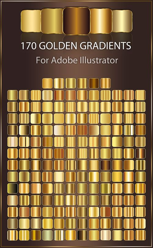 Quality Graphic Resources 170 Golden Gradients For Adobe Illustrator Adobe Illustrator Design Illustrator Tutorials Gradient Illustrator