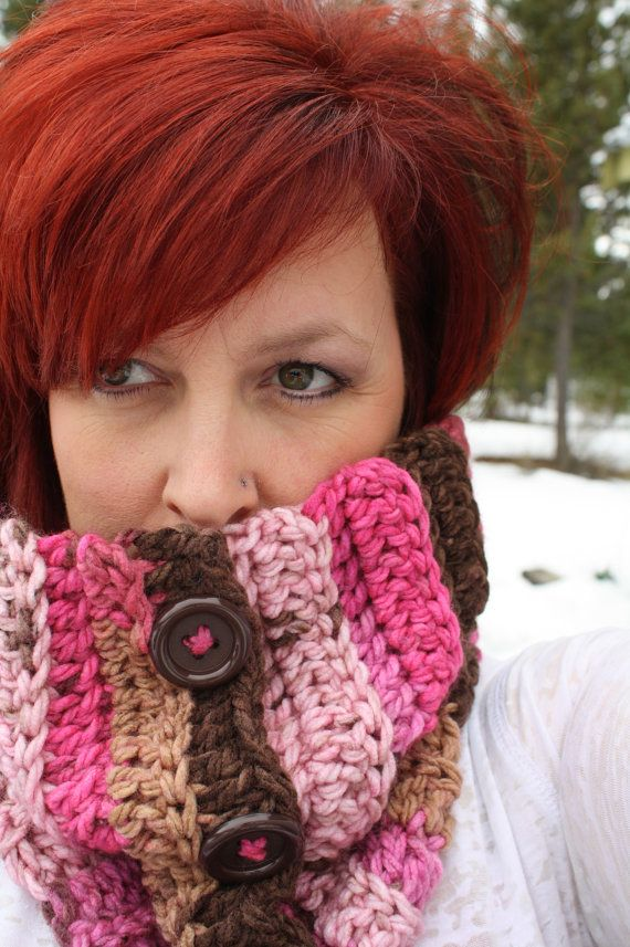 Pink and Brown Crocheted Cowl with Buttons by MissKittyCrochets, $22.00