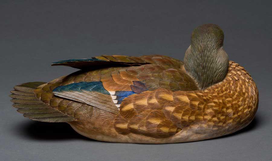 photo of pete lupos artwork wood duck hen decoy