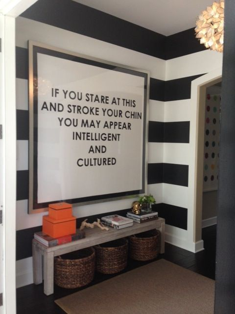 With A Different Quote Or With A Scrupture Instead Striped Foyer Artwork By Mobstr Design By The Chic Pad Quirky Decor Home Decor Interior