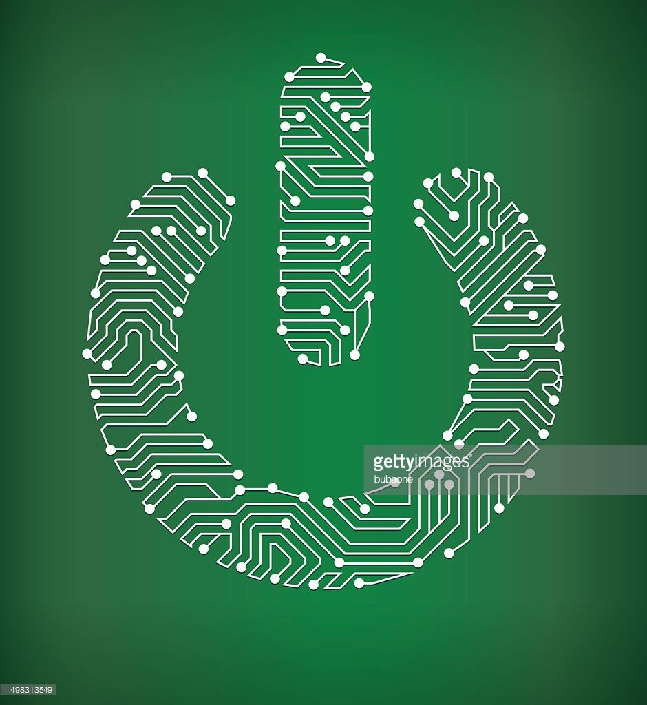 Power On Circuit Board Royalty Free Vector Background The Design Over Green Illustration