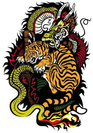 Dragon Chino Dragon Y Tigre Luchando Tatuaje Tatuaje De Tigre Japones Tatuaje De Tigre Diseno Del Tatuaje Del Tigre