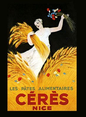 Wheat Lady with Flowers Ceres Nice French Food Vintage Poster Repro Free s H | eBay