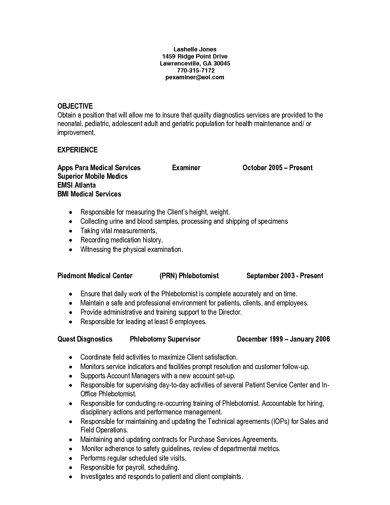 Entry Level Medical Assistant Cover Letter Entrancing Qualifications Resume Phlebotomist Sample Entry Level Phlebotomy .