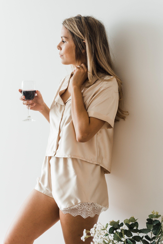 Champagne Satin Button Up Bridesmaid pyjama sets,