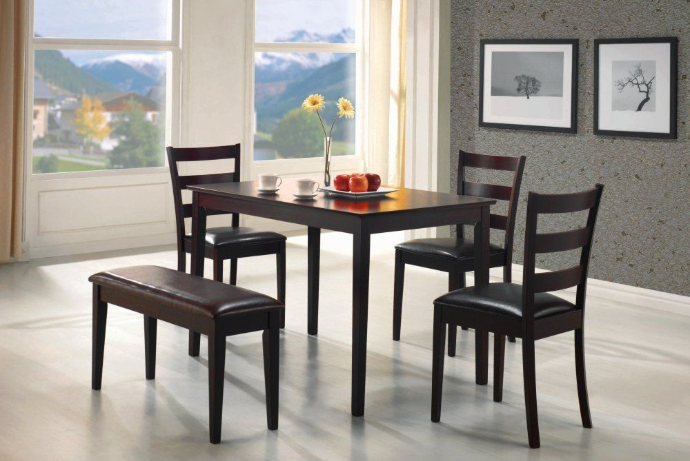 amazon - coaster 5pc dining table, chairs & bench set